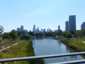 View Towards Downtown Chicago from Lincoln Park Bridge near the Zoo.